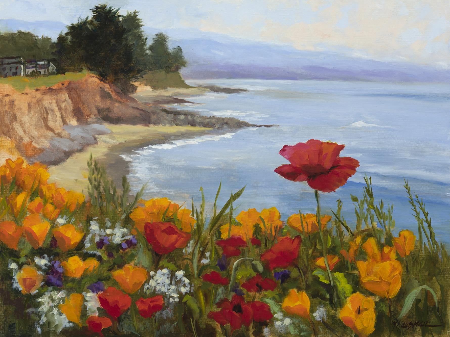 "Poppies on the Coast, 18""x24"", oil on linen"