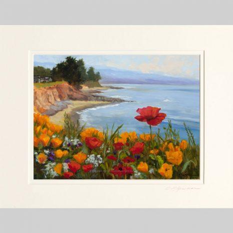 Poppies on the Coast, white inner mat