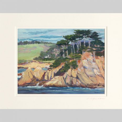 Point Lobos, double matted, white inner mat