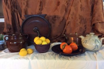 Still life for painting: lemons and persimmons