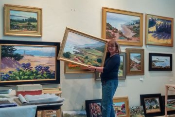Michele Setting up her Soquel studio