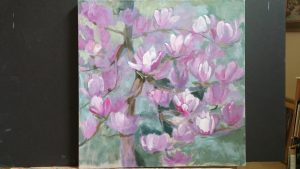 Magnolia painting in progress