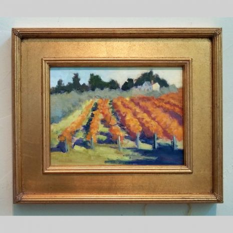 Hillside Vineyard, 9x12, gold frame