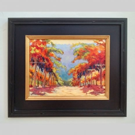 Pinot Vines 12×16 black frame with gold liner