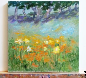 Hillside Wildflowers on my easel