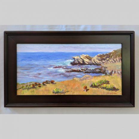 Coastal Grazing 12x24 mahogany frame