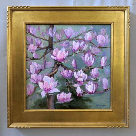 Magnolia Bloom 18x18 gold frame