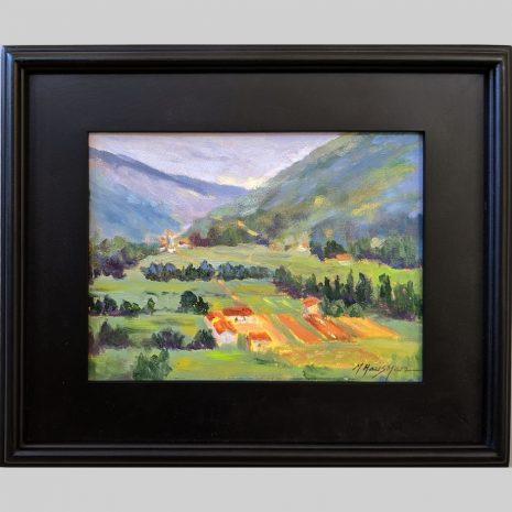 Tuscan Farmland 9x12 black frame