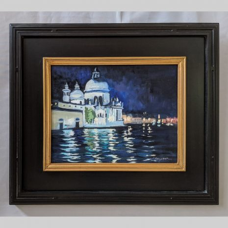 Venice Night 11x14 black with gold trim frame