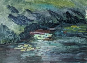 lily pond painting in progress