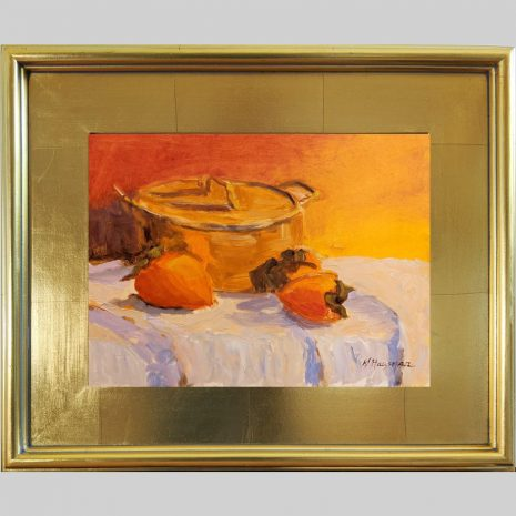 Bean Pot and Persimmon 9x12 3PG gold frame