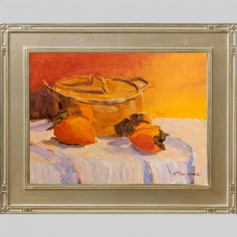 Bean Pot and Persimmon 9x12 O2 silver frame