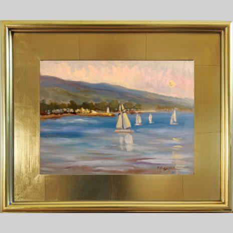 Full Moon Sail 9x12 3PG gold frame