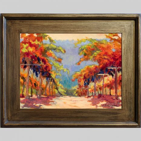 Pinot Vines 12x16 3PBr brown frame