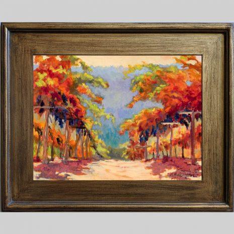 Pinot Vines 12x16 3PBr brown frame