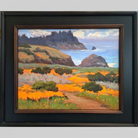 Poppy Field 16x20 black w copper inset frame