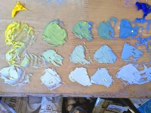 palette for Lily Pond painting