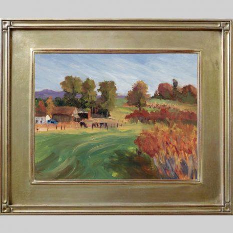Hadley Farm, 11x14, oil, silver Om40 frame