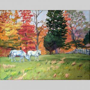 Horses in Autumn, 22x28, oil