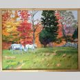 Horses in Autumn, 22x28, oil, 3/4 inch frame