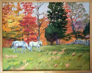 Horses in Autumn, 22x28, oil, narrow maple frame