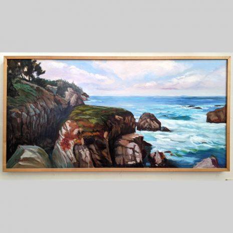 Rocky Coast, 24x48, oil on board, framed