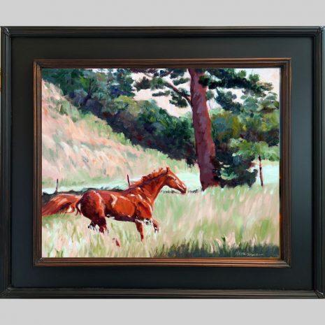Spring Romp,16x20, oil, black w copper inset frame