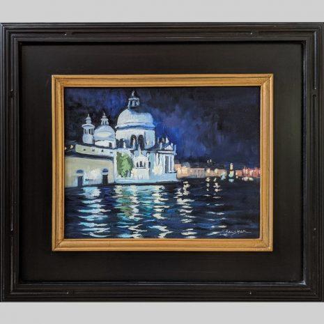 Venice Night 11x14 black with gold trim frame