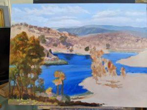 Lake Miramar 24x36 oil -in progress