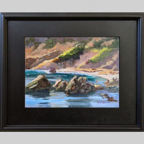 Quiet Cove, 9x12, oil, 3PB black